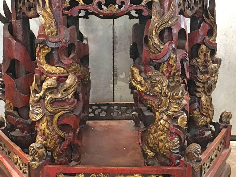 Large Chinese Lacquered and Gilt Wooden Model of a Pagoda or Pavilion For Sale 2
