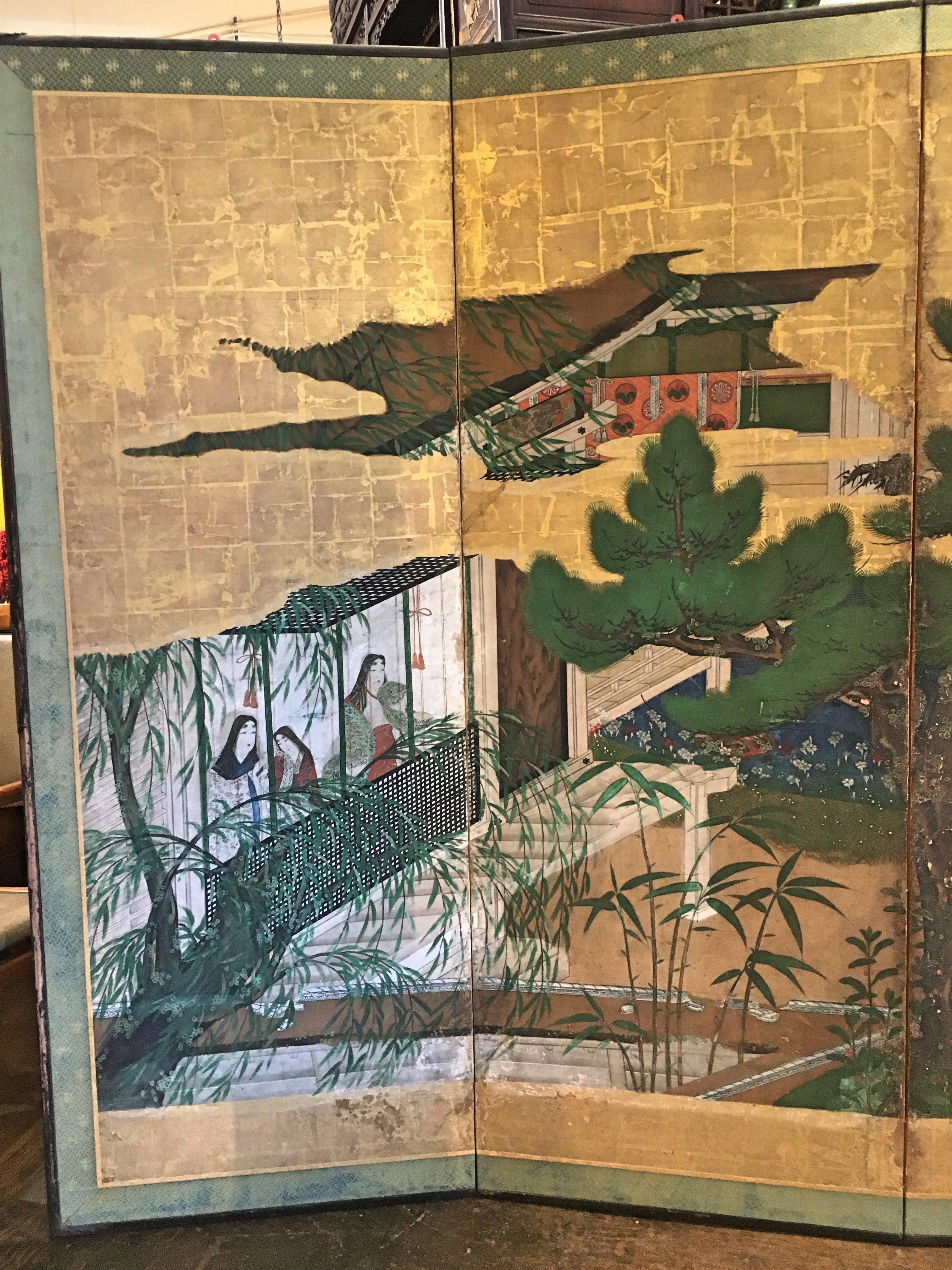 Japanese Momoyama Period Kano School Figural Six Panel Screen, Circa 1600