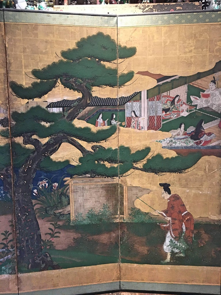 Edo Japanese Momoyama Period Kano School Figural Six-Panel Screen, circa 1600 For Sale
