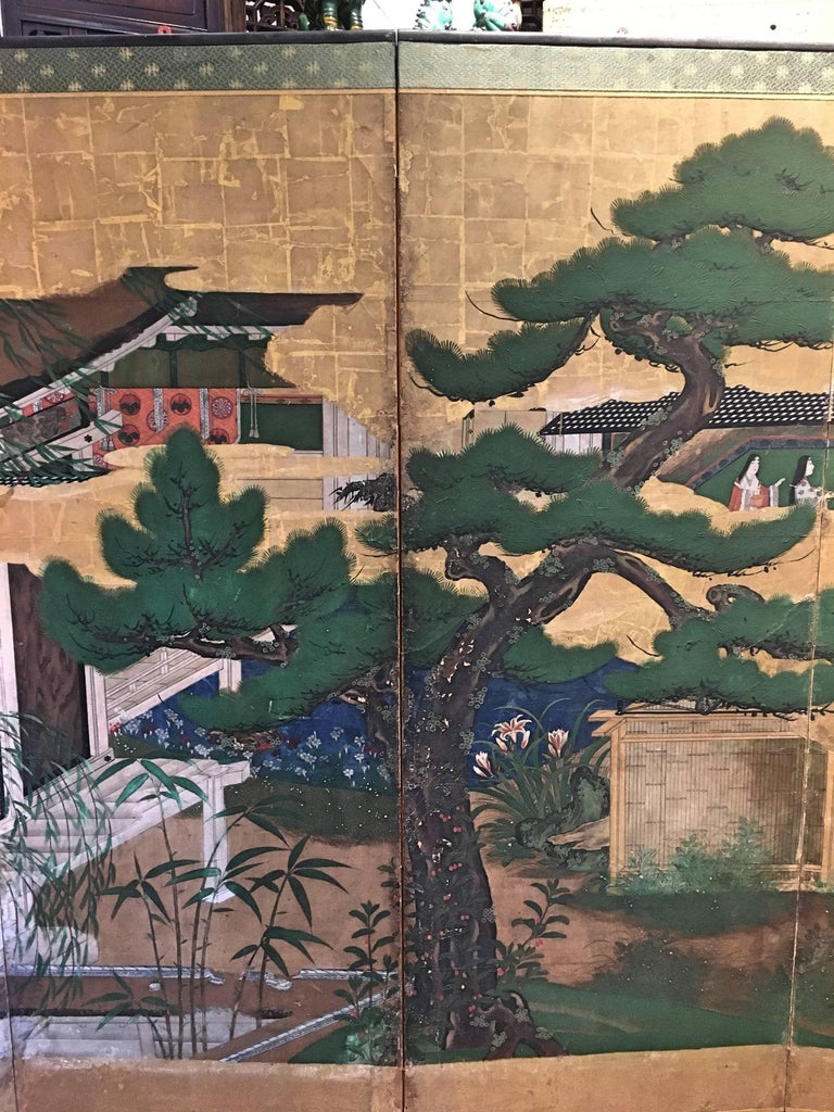 Japanese Momoyama Period Kano School Figural Six-Panel Screen, circa 1600 In Fair Condition For Sale In Austin, TX