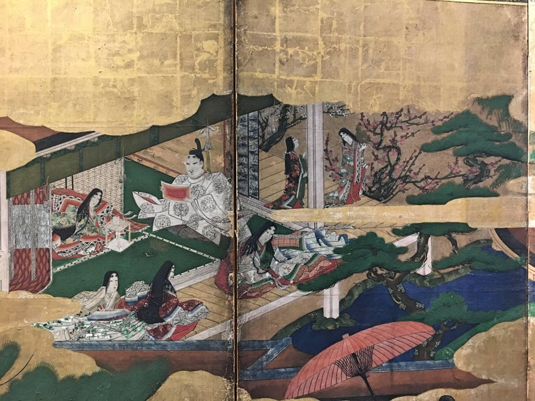 17th Century Japanese Momoyama Period Kano School Figural Six-Panel Screen, circa 1600 For Sale