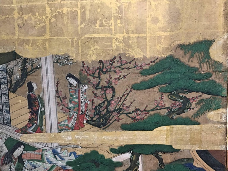 Japanese Momoyama Period Kano School Figural Six-Panel Screen, circa 1600 For Sale 1