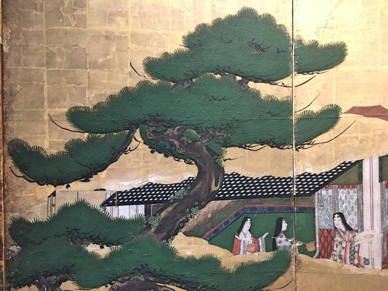 Japanese Momoyama Period Kano School Figural Six-Panel Screen, circa 1600 For Sale 2