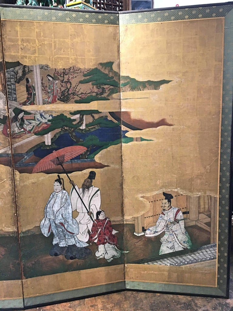 Japanese Momoyama Period Kano School Figural Six-Panel Screen, circa 1600 For Sale 3