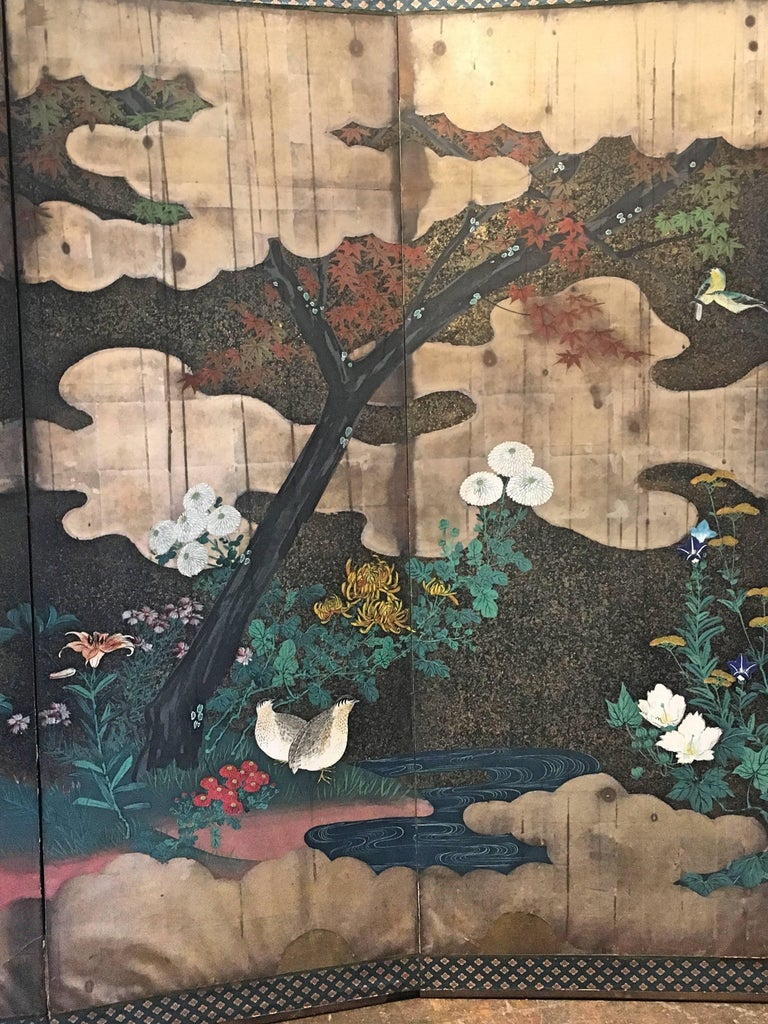 Hand-Painted Japanese Edo Period Six-Panel Screen Autumn For Sale