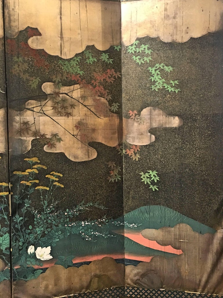 Japanese Edo Period Six-Panel Screen Autumn In Fair Condition For Sale In Austin, TX