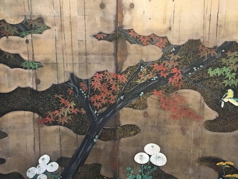 19th Century Japanese Edo Period Six-Panel Screen Autumn For Sale