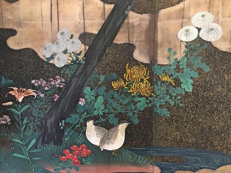 Gold Leaf Japanese Edo Period Six-Panel Screen Autumn For Sale