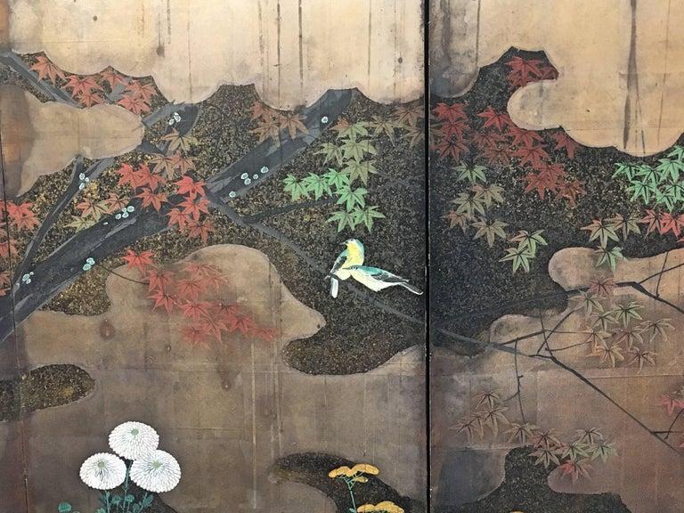 Japanese Edo Period Six-Panel Screen Autumn For Sale 2