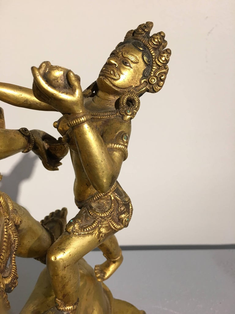 Large 20th Century Nepalese Gilt Bronze Figure of Yama and Yami For Sale 2