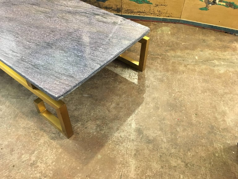 1970s Brass and Blue Marble Coffee Table In Good Condition For Sale In Austin, TX