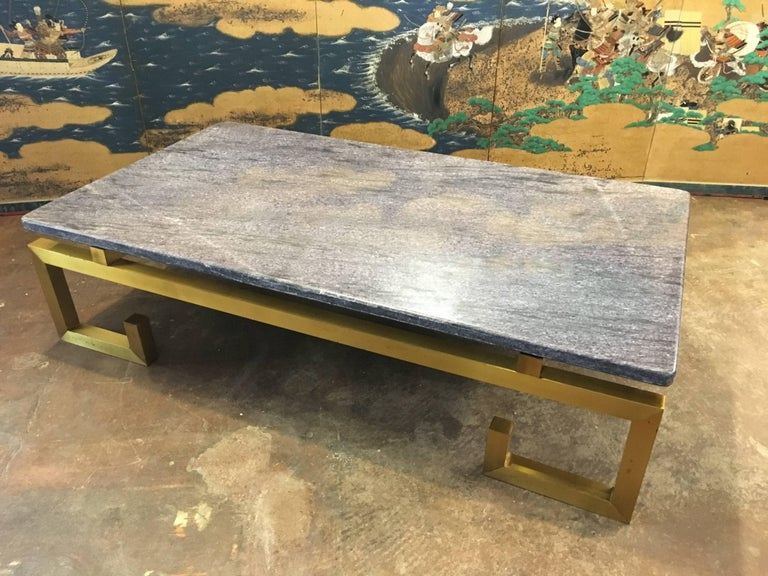 Modern 1970s Brass and Blue Marble Coffee Table For Sale