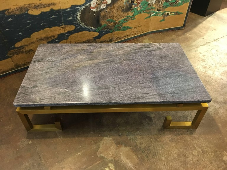 French 1970s Brass and Blue Marble Coffee Table For Sale