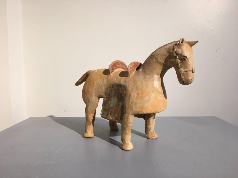 Painted Chinese Six Dynasties Pottery Model of an Armored Horse, 3rd-4th Century For Sale