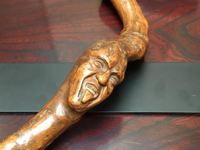 American Folk Art Snake and Wood Spirits Walking Stick, Early 20th Century For Sale 1