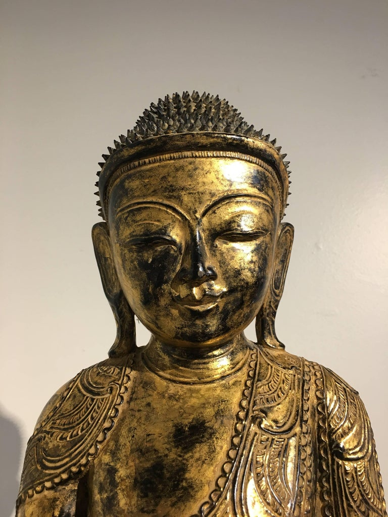 Burmese Ava Period Carved, Lacquered and Giltwood Buddha, Late 18th Century For Sale 1