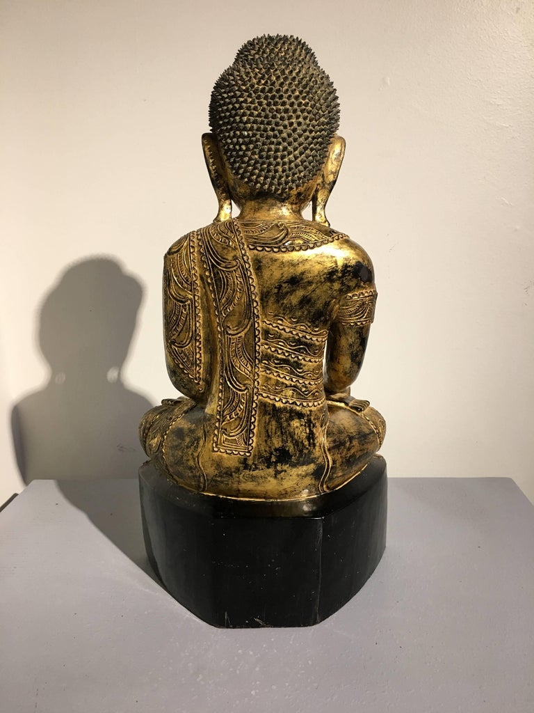 Wood Burmese Ava Period Carved, Lacquered and Giltwood Buddha, Late 18th Century For Sale