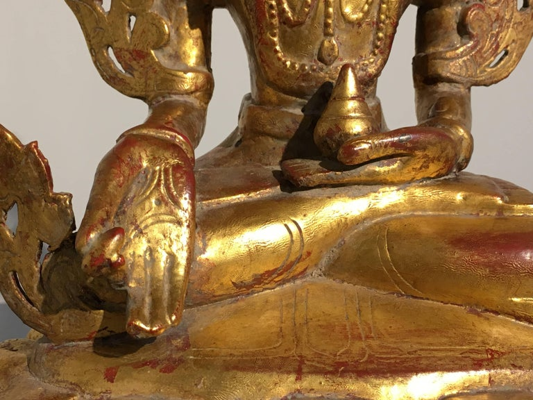 Burmese Arakan Lacquered and Gilt Bronze Healing Buddha, 18th Century For Sale 6