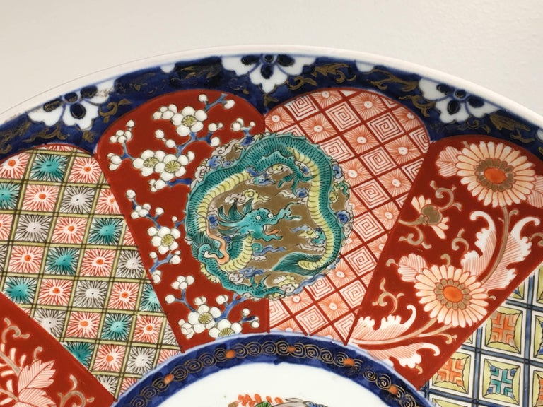 19th Century Japanese Meiji Period Imari Porcelain Charger For Sale