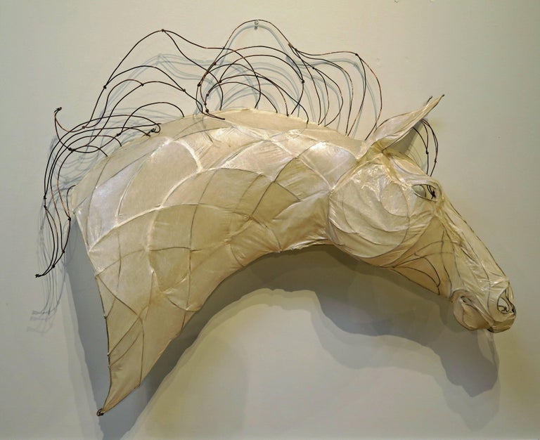 American 21st Century Wire and Glazed Paper Horse Head Sculpture by Kris Mongene For Sale