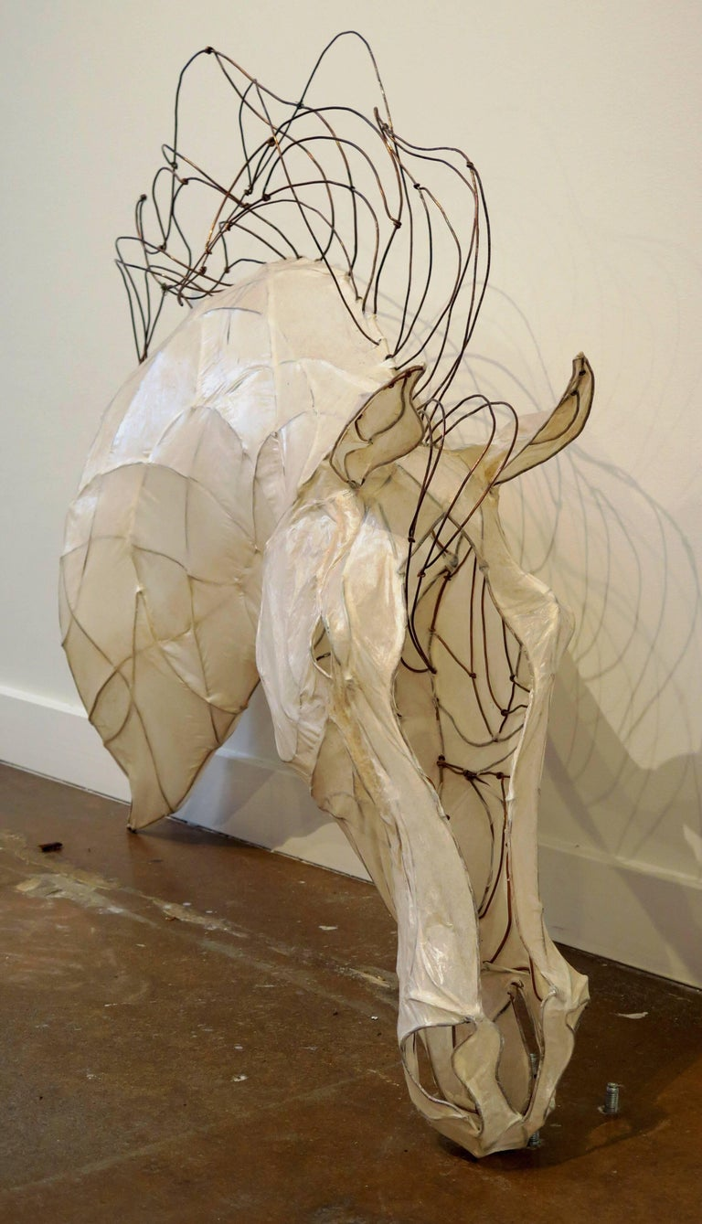 21st Century Wire and Glazed Paper Horse Head Sculpture by Kris Mongene In Excellent Condition For Sale In Austin, TX