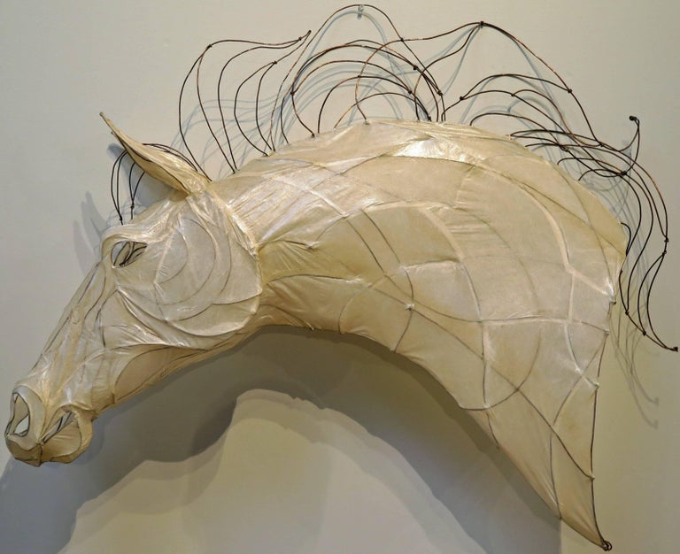 Contemporary 21st Century Wire and Glazed Paper Horse Head Sculpture by Kris Mongene For Sale