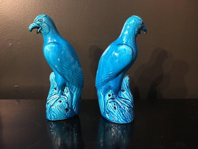Late 19th Century Pair of Chinese Export Turquoise Glazed Models of Hawks In Good Condition For Sale In Austin, TX
