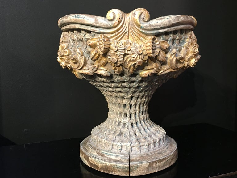 Italian Carved, Polychrome, Gilt Basket Form Centerpiece Jardiniere, circa 1900 In Fair Condition For Sale In Austin, TX
