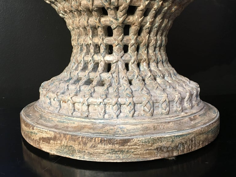 Wood Italian Carved, Polychrome, Gilt Basket Form Centerpiece Jardiniere, circa 1900 For Sale