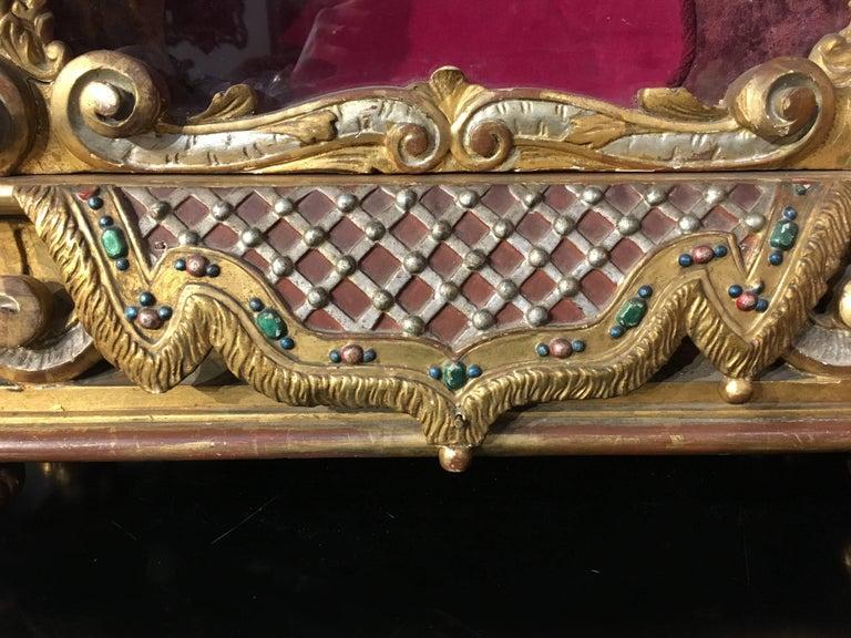 Late 19th Century Italian Baroque Revival Gilt and Polychrome Table Top Vitrine For Sale 4