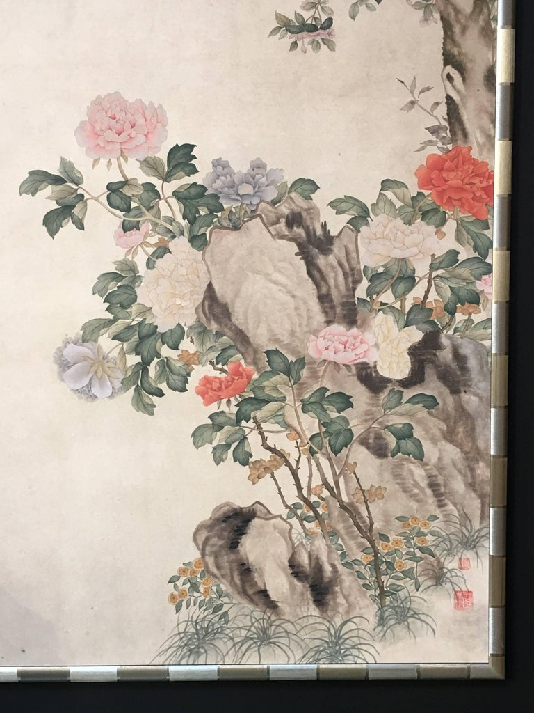 A gorgeous modern Chinese wallpaper style painting. Hand-painted watercolor on mulberry paper in a textured gold leafed bamboo pattern frame, with three seals of the artist. 