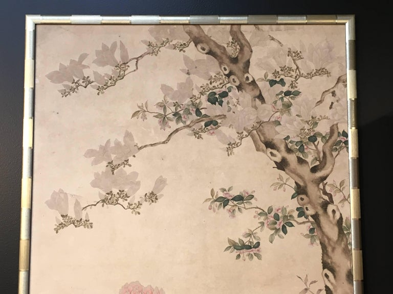 Modern Framed Chinese Hand-Painted Chinoiserie Wallpaper Style Panel In Excellent Condition For Sale In Austin, TX