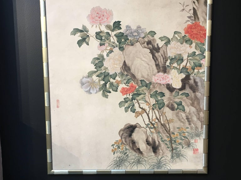 Contemporary Modern Framed Chinese Hand-Painted Chinoiserie Wallpaper Style Panel For Sale