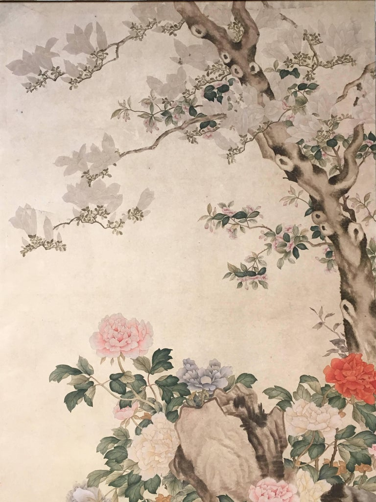 Modern Framed Chinese Hand-Painted Chinoiserie Wallpaper Style Panel For Sale 1