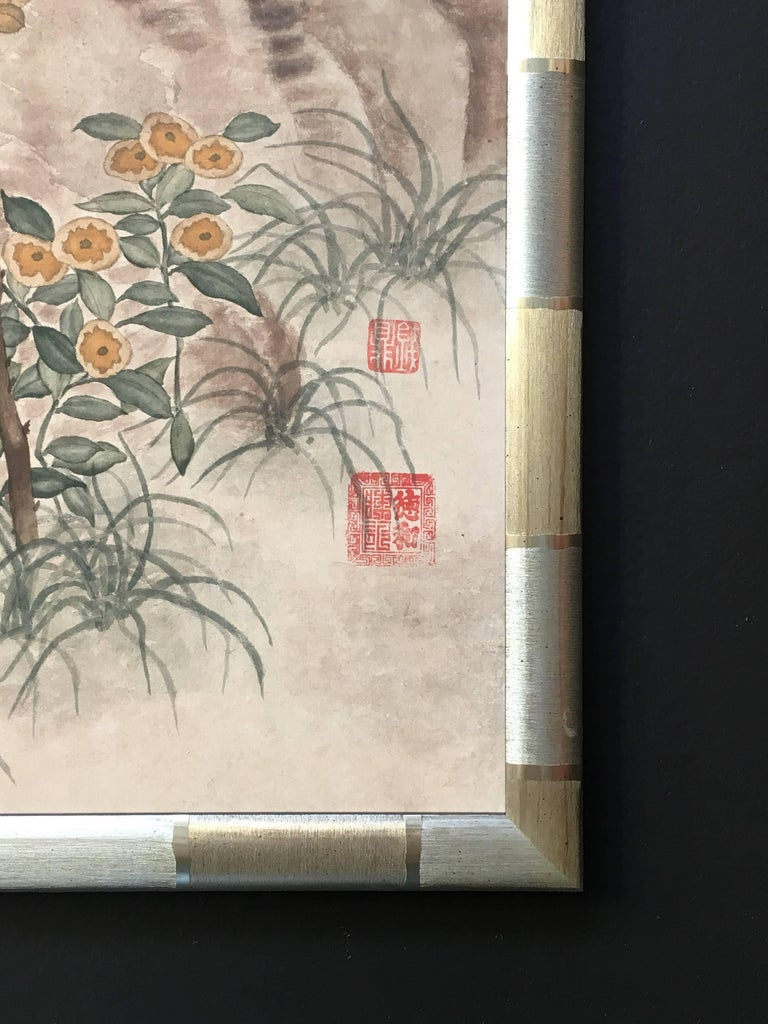 Modern Framed Chinese Hand-Painted Chinoiserie Wallpaper Style Panel For Sale 2