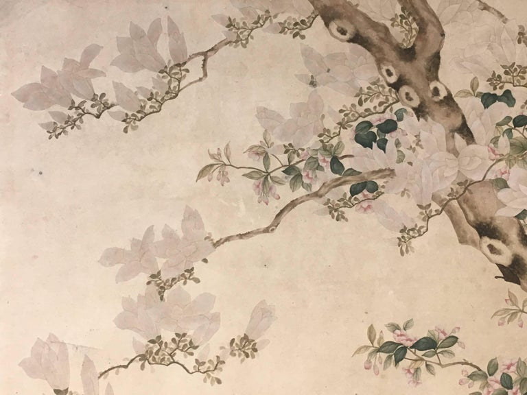 Modern Framed Chinese Hand-Painted Chinoiserie Wallpaper Style Panel For Sale 5