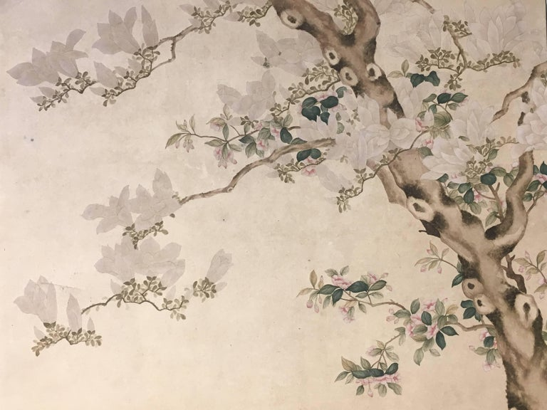 Modern Framed Chinese Hand-Painted Chinoiserie Wallpaper Style Panel For Sale 6