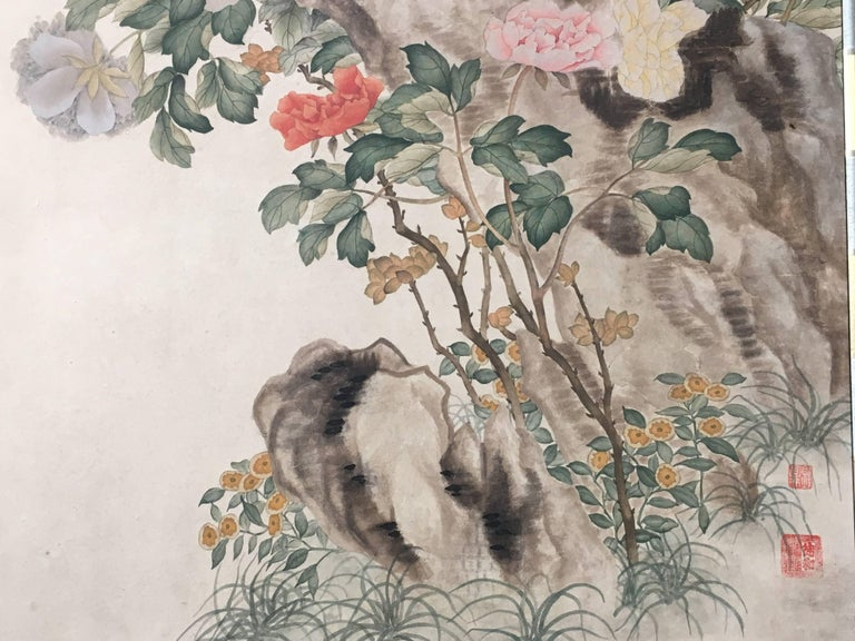 Modern Framed Chinese Hand-Painted Chinoiserie Wallpaper Style Panel For Sale 7