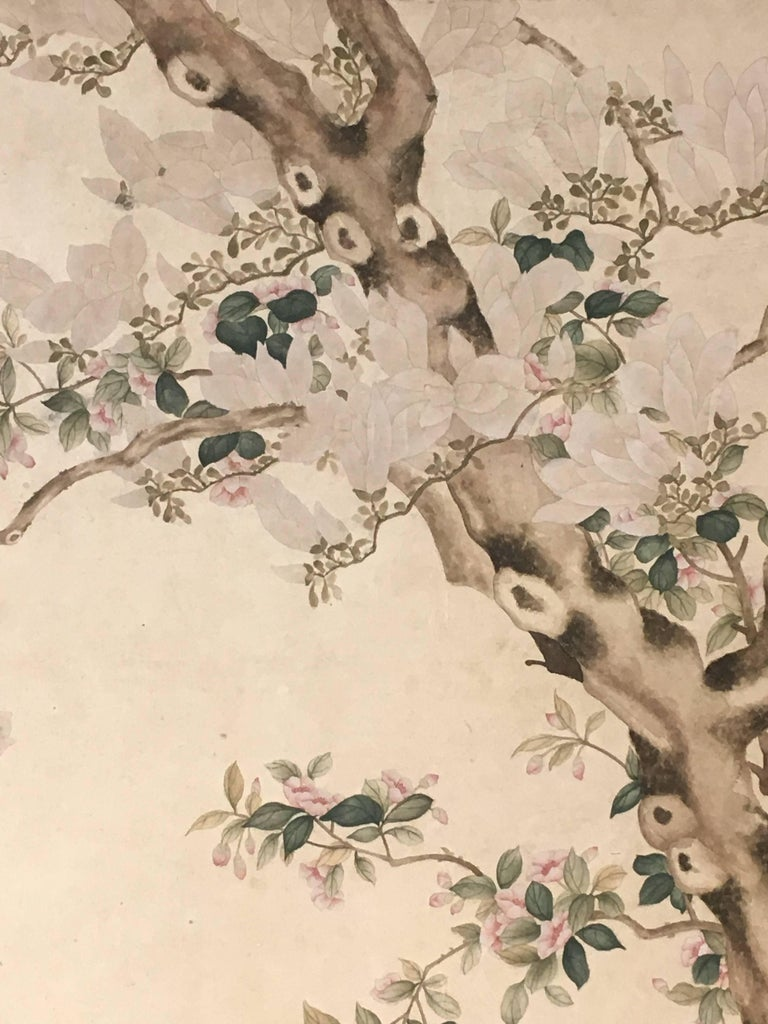 Modern Framed Chinese Hand-Painted Chinoiserie Wallpaper Style Panel For Sale 8