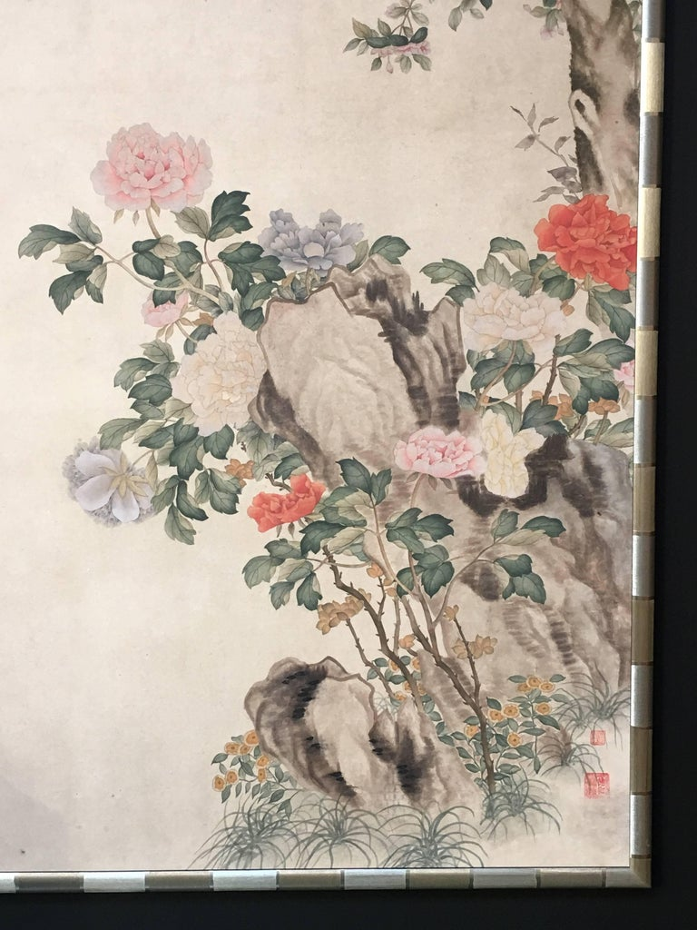 Modern Framed Chinese Hand-Painted Chinoiserie Wallpaper Style Panel For Sale 9