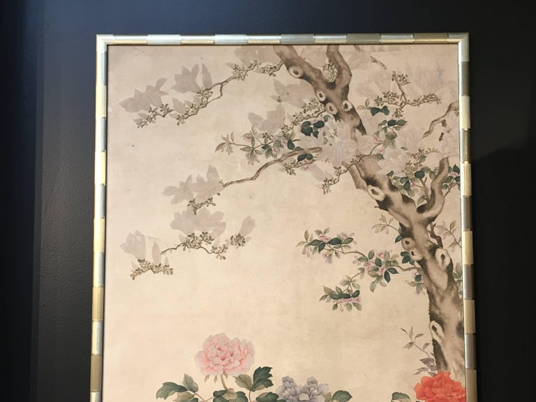 Modern Framed Chinese Hand-Painted Chinoiserie Wallpaper Style Panel For Sale 10
