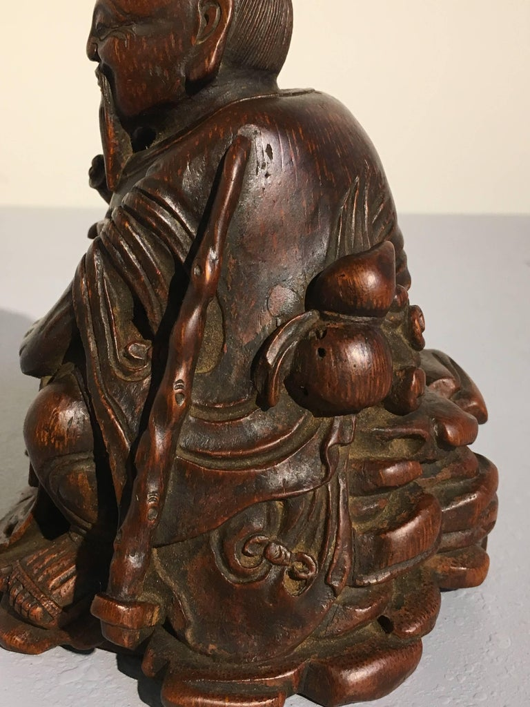 Chinese Carved Bamboo Figure of a Sage, Qing Dynasty, 18th Century For Sale 4
