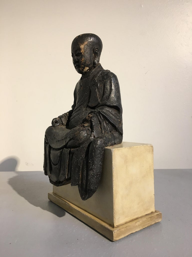 Lacquered Chinese Ming Dynasty Carved Wood Figure of a Luohan or Arhat, 16th-17th Century For Sale