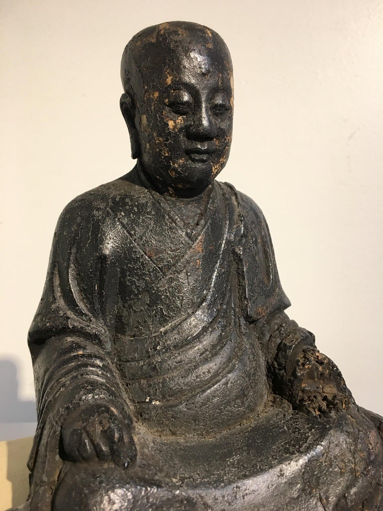 Chinese Ming Dynasty Carved Wood Figure of a Luohan or Arhat, 16th-17th Century For Sale 2