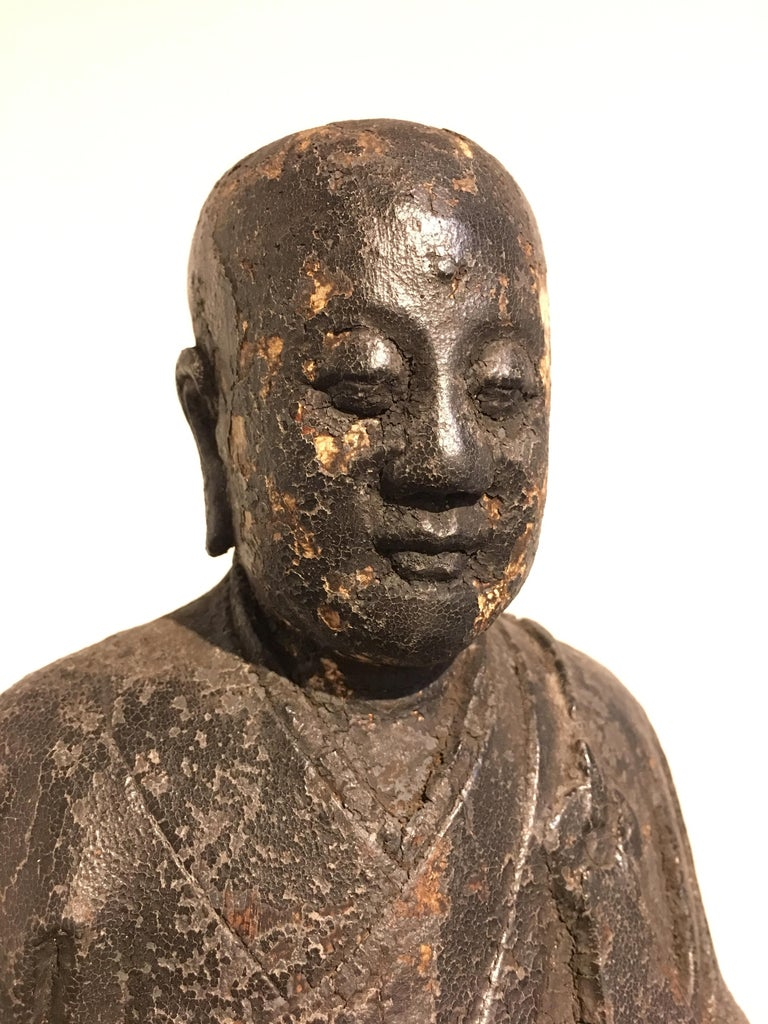 Chinese Ming Dynasty Carved Wood Figure of a Luohan or Arhat, 16th-17th Century For Sale 4