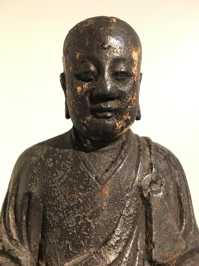 Chinese Ming Dynasty Carved Wood Figure of a Luohan or Arhat, 16th-17th Century For Sale 3