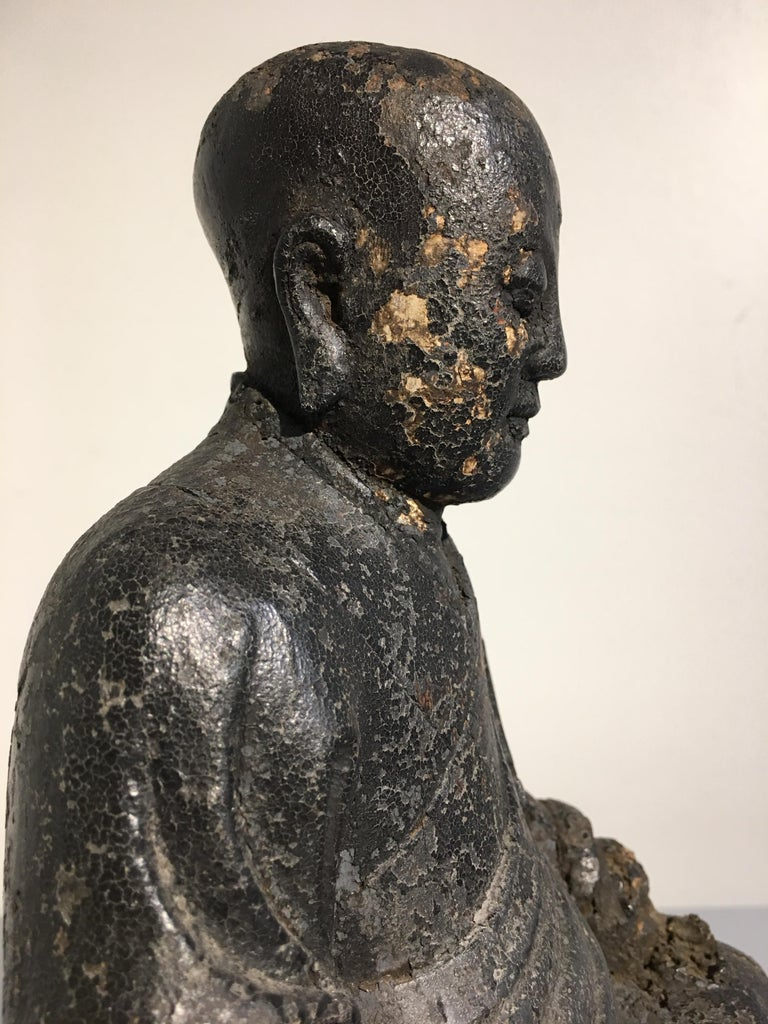 Chinese Ming Dynasty Carved Wood Figure of a Luohan or Arhat, 16th-17th Century For Sale 5