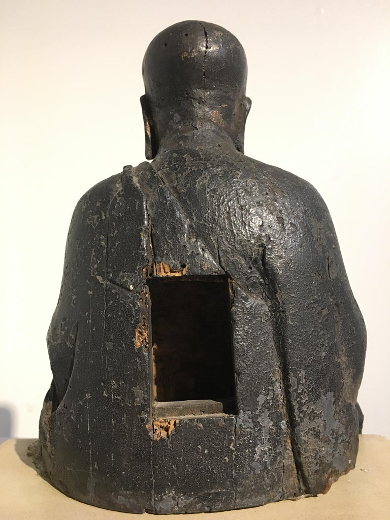 Chinese Ming Dynasty Carved Wood Figure of a Luohan or Arhat, 16th-17th Century For Sale 9