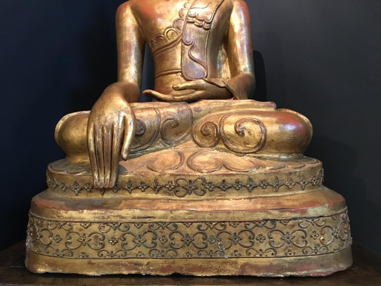 Life-Sized Shan Burmese Gilt Lacquer Papier Mâché Buddha, circa 1900 For Sale 6
