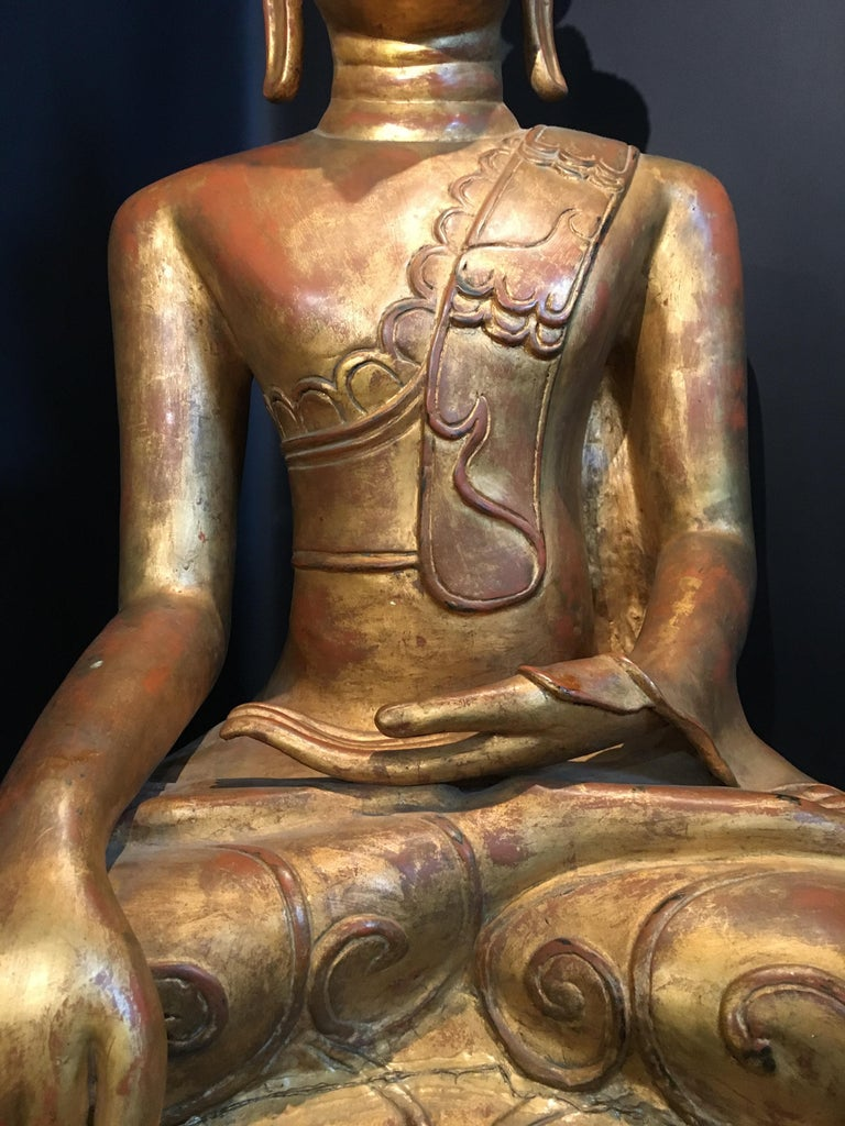Life-Sized Shan Burmese Gilt Lacquer Papier Mâché Buddha, circa 1900 For Sale 7